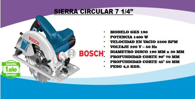 Sierra circular Bosch GKS 190 caracteristicas
