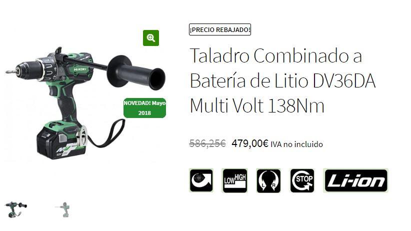 Taladro percutor DV36DA MetaboHPT precio